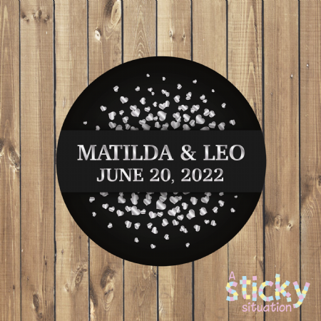 Personalised Wedding Stickers - Black and Silver Heart Design